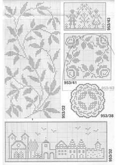 filet crochet - simple European streetscape and nice leaf sprig arrangement