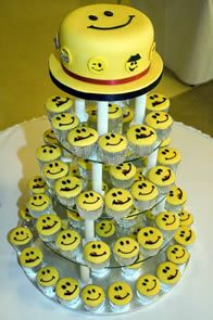 Smiley Cake and Cupcakes