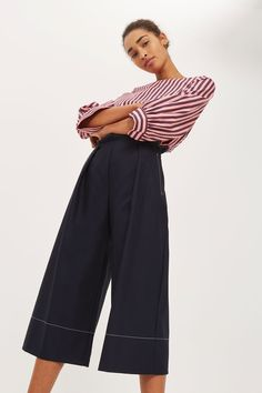 PETITE Top Stitch Wide Leg Trousers