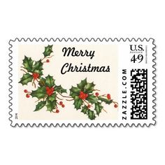 Vintage Christmas, Holly with Red Berries Postage Stamps