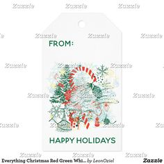 Shop Everything Christmas Red Green White Holiday Gift Tags created by LeonOziel. Holiday Gift Tags, Custom Ribbon, Old Newspaper, Personalized Gift Tags, Vintage Gifts, Twine, Red Green, Christmas Holidays, Presents