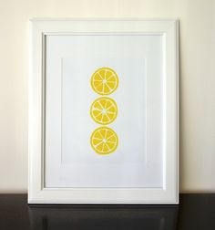Citrus - Yellow 8x10 Linocut Print - Lemon - Orange. $12.00, via Etsy.