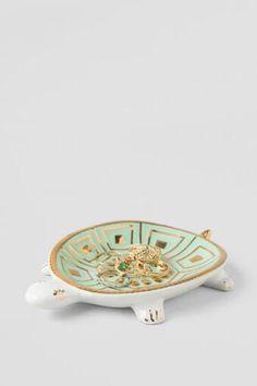 Mint and Gold Ceramic Turtle Trinket Dish