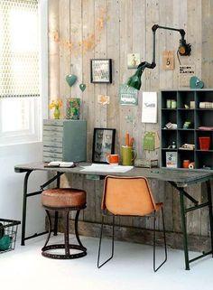 Retro werkkamer groen en oranje