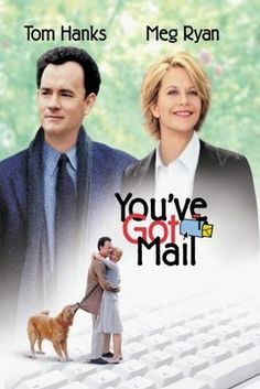 'You've Got Mail'  (1998) American romantic comedy. The story brings romance and courtship into the electronic age of the World Wide Web via e-mail and chat rooms.Tom Hanks and Meg Ryan make a wonderful couple! Watched this one a few times!