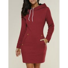 26.25$  Buy here - http://dij3f.justgood.pw/go.php?t=196490412 - Long Sleeve Hoodie Mini Dress 26.25$
