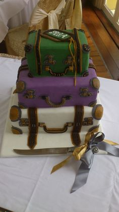 Chantilly Dreams and Alchemy - Bespoke, Artisan, Wedding Cakes - Based in Kinsale Co. Suitcase Cake, Wedding Cakes, Artisan, Traveling, Desserts, Color, Tags, Wedding Gown Cakes, Viajes