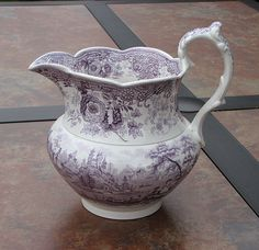 ANTIQUE STAFFORDSHIRE TYROLEAN PURPLE TRANSFERWARE PITCHER