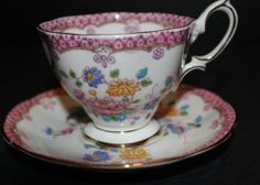 Charming Hand Painted Royal Albert Teacup and Saucer Pink With Flowers and Bird