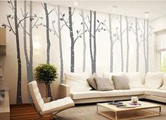 4 Big Birch Tree Wall Decal Nursery Removable Vinyl Tree Wall Sticker for Living Room Wall Decor Murals