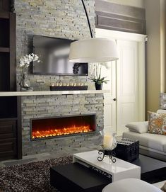 built-in led wall mount electric fireplace salas de tv, estufas, d Decor, Wall Mounted Fireplace, Family Room, Modern, Home Decor, Linear Fireplace, Fireplace Mantels, Room Layout, Fireplace Wall