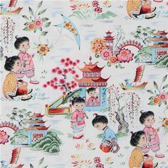 Michael Miller designer fabric Chinese Kids  cute white fabric with Chinese children and beautiful landscape from the USA