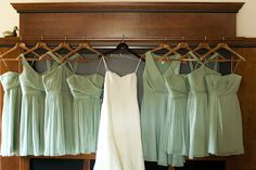 Short Mint Green Bridesmaids Dresses | photography by http://www.kimthielphotography.com/