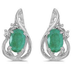 14k White Gold May Birthstone Oval Emerald And Diamond Teardrop Earrings