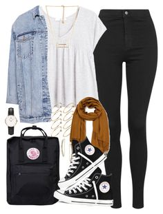 """Outfit for uni with high waisted jeans"" by ferned ❤ liked on Polyvore featuring Topshop, Fjällräven, MANGO, Forever 21, ASOS, Daniel Wellington, Pull&Bear, Emporio Armani and Converse"
