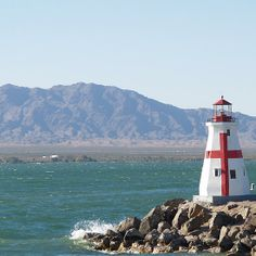 Red and White Lighthouse Lake Havasu