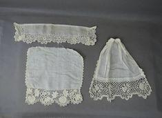 Vintage Crochet Lace Dress Trim, Antique Edwardian 1900s Cotton Remnants - Cuff Jabot
