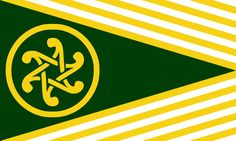 Flag of United Cetic Nations (Scotland, Isle of Man, Ireland, Wales, Cornwall, Brittany). Double triskele and circle mean unity of celtic nations. White and yellow strips mean flame that burns in hearts of those who support an idea of unity of these nations. Green part of flag means growth and development. Yellow means wealth of celtic nations. White means peace and good intentions. The number of strips corresponds to vigesimal number system (based on twenty) used in Celtic languages.