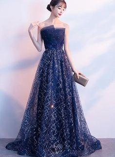 Navy Blue Floor Length Long Party Gown, A-line Long Prom Dress – BeMyBridesmaid Cute Prom Dresses, Elegant Dresses, Pretty Dresses, Beautiful Dresses, Formal Dresses, A Line Dress Formal, Princess Prom Dresses, Strapless Prom Dresses, A Line Gown