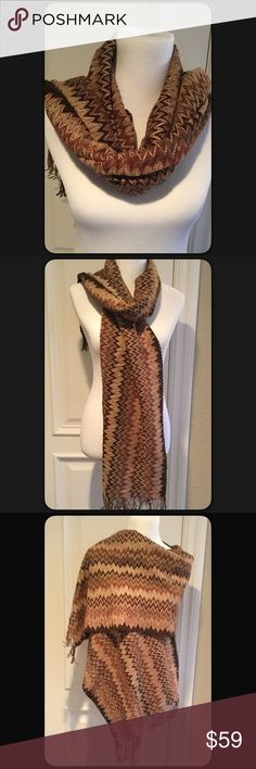 "🆕Missoni Scarf Pretty earth tones zig zag patterned Scarf with fringe by Missoni. Measures approximately 72"" long and 17"" wide. NWT. Missoni Accessories Scarves & Wraps"