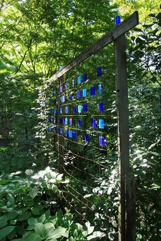 Stained glass & wire screen.