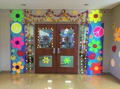 entrance of school office Class Reunion Decorations, Dance Decorations, Class Decoration, School Decorations, School Themes, 70s Party Decorations, Hippie Party, Hippie Birthday Party, 30th Birthday