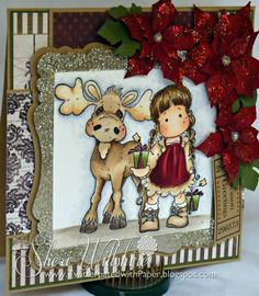Magnolia-licious DT Card  Walter the Moose and Tilda with Tag Gifts
