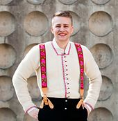 White Fana jacket for men from western part of Norway. Pattern on Ravelry by Nina Granlund Sæther. Can be used as bunad.