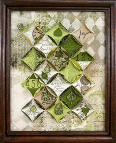 Club Scrap Trees Blog Hop - Kay's gorgeous quilted paper wall hanging . . . each component is  miniature work of art!
