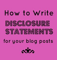 How to Write Disclosure Statements for your Blog Posts - Simply Stacie -- examples for every kind of review and post