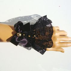 Black Fingerless Lace Bridal Gloves Formal gloves by RoseAndKnit