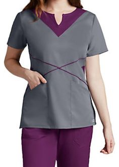 Grey's Anatomy Notched Neck Color Block Scrub Tops Spa Uniform, Scrubs Uniform, Scrub Suit Design, Scrubs Pattern, Stylish Scrubs, Beauty Uniforms, Cute Scrubs, Scrubs Outfit, Medical Uniforms