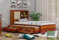 Looking for a room interior change with some furniture then you should definitely check out Wooden Street's trundle bed design that are exclusive and modern. Visit wooden street online for more amazing designs. Wooden Trundle Bed, Trundle Bed With Storage, Trundle Beds, Modern Bedroom Furniture, Shabby Chic Furniture, Home Furniture, Single Beds With Storage, Wooden Street, Lit Simple
