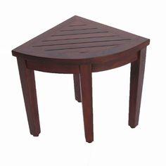 Oasis Bathroom Teak Corner Shower Seat Stool Chair Bench- Sitting, Storage, or Foot Rest - Teak-Shower-Bench