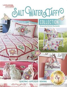 Salt Water Taffy Collection Book: Dive into Rebekah Shucksmith's lifelong experience with English paper piecing, hand embroidery, and hand buttonhole stitch appliqué in this adorable book! Designs include Hexagons Quilt, Hexagons Pillow Sham, Trellis Quilt, Floral-Edged Pillowcase, Floral Applique Pillow, Laundry Bag, Pajama Bag, and Lavender Sachet.
