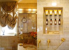 Harriette Rose Katz - New York:  Her bath is outfitted with honey onyx walls and counter.  The sink and fixtures are from Sherle Wagner.