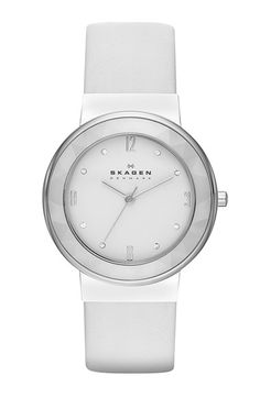 Skagen Faceted Bezel Leather Strap Watch, 34mm available at #Nordstrom