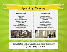Sparkling Clean Pop-Art Residential and Commercial Cleaning Flyer Template Cleaning Service Flyer, Cleaning Contracts, Cleaning Flyers, Cleaning Maid, Commercial Cleaning Services, Cleaning Business Cards, Cleaning Companies, House Cleaning Services, Office Cleaning