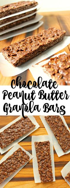 Chocolate Peanut butter granola bars are the perfect snack, dessert, breakfast, midnight snack. I could go on, but they are so yummy and gluten free! Gluten Free Cookies, Gluten Free Desserts, Delicious Desserts, Yummy Food, Healthy Food, Granola Bars Peanut Butter, Chocolate Peanut Butter, White Chocolate Raspberry Scones, Breakfast Dessert