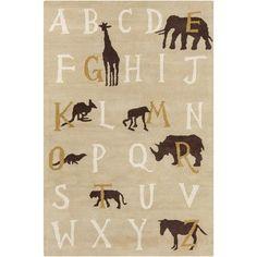 Filament Cinzia Tan Kids Rug - #nursery #jungletheme #kidsrooms #rug #animal #theme #alphabet