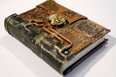steampunk journal with functional clock mechanism