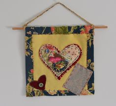 Textile art collage - Double hearts - May Love, Joy & Peace be Yours - hanging piece by judithadesigns09 on Etsy