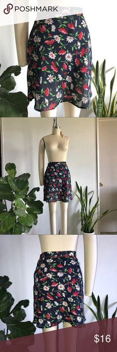 """VINTAGE ESPRIT!!! Floral Mini Skirt 🌹🌸 VINTAGE ESPRIT!!! Floral Mini Skirt. High waisted slim fitting skirt. No tag listing the size but fits like a 2. Interior lining was cut short (I bought it as is) but you can't see through. Photo attached of inside out garment to shoe length difference). Such a cute """"Back to School"""" look 📚 Esprit Skirts"""