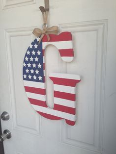 """My newest """"wreath"""" for 4th of July and other patriotic holidays! I found the G at Hobby Lobby. #America #AmericanFlag  #initial"""