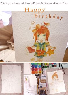Happy Birthday Card/This cute red hair little girl wishes you lots of Love, Peace & Dreams Come True. It's a late march design, inspired by the beauty of a pure, innocent heart/©Alaalina Cards/www.haartes.com