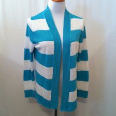 Teal and White Striped Cardigan In excellent condition. No snags or tears. 100% linen. Hand wash cold. Bust - 40 inches. Length - 24 inches. Talbots Sweaters Cardigans