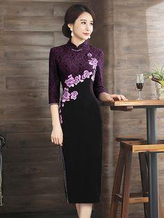 Embroidered Velvet Qipao / Cheongsam Dress with Long Sleeve - CozyLadyWear