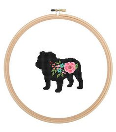 English Bulldog Silhouette Cross Stitch Pattern floral roses Pet animal wall art English Bull Dog cross stitch modern gift COUNTED CROSS STITCH PATTERN (Patterns are in both Single page and multi-page enlarged format for easy reading) This English Bulldog Floral Silhouette Pattern is