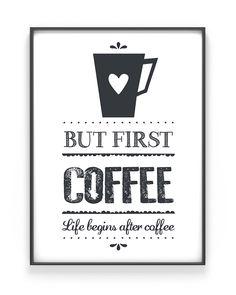 Koffie Print +++ Life Begins after Coffee Poster +++ Zwart-Wit Keuken Posters zelf maken bij Printcandy +++ Met eigen tekst, in zwart-wit of kleur