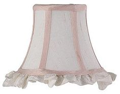 Ruffled Pink & White Clip-On Silk Shade